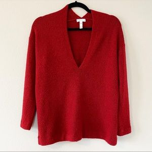 Leith red fuzzy soft sweater v neck top XXS shirt